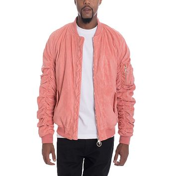FAUX SUEDE BOMBER JACKETS- CORAL