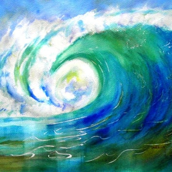 Original Watercolor, Ocean Wave Crest, Beach Theme, Surf art, 12x16,  seascape, surf theme, wave curl, sea water, wave barrel,