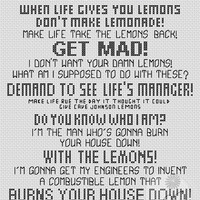 Portal 2 quote - With the Lemons (Printable PDF Pattern)
