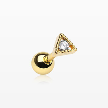 Golden Dainty Triangle Sparkle Cartilage Tragus Barbell