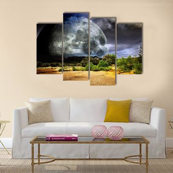 Dreamscape With Full Moon Multi Panel Canvas Wall Art