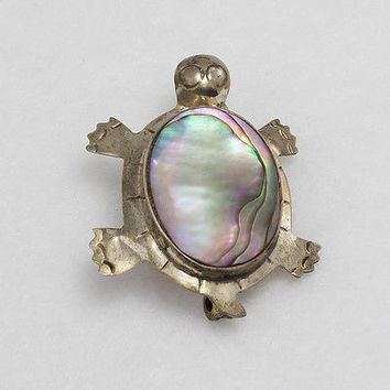 Vintage Sterling Silver Turtle Brooch Pin with Abalone Inlay 925 Fine Jewelry