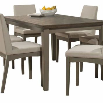 Clarion Seven Piece Rectangle Dining Set with Upholstered Chairs - Distressed Gray