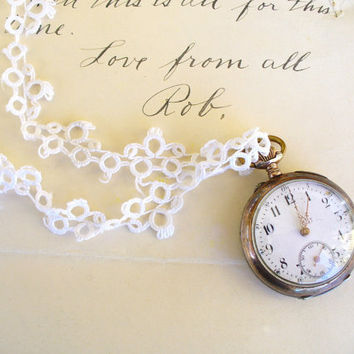 Antique Silver Pocket Watch Necklace Ladies Pendant Porcelain French Inscription Downton Abbey