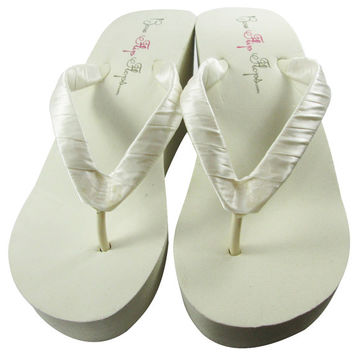 Ivory Wedge or White Wedge Bridal Satin Flip Flops Black 3.5 inch 1.25 inch 2 inch Plain Heel Wedding Flip Flops Platform Sandals Bridesmaid