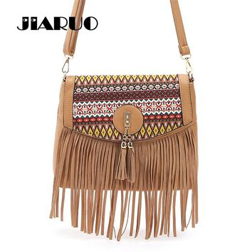Vintage Bohemia Women Tassel Fringe Leather Handbag Purse Day Clutch Women Messenger Bag Brown Black Shoulder Crossbody Bag