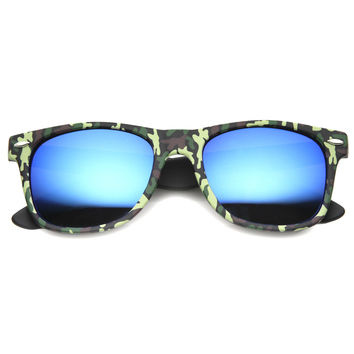 Outdoors Sports Camouflage Mirror Lens Horned Rim Sunglasses 9880