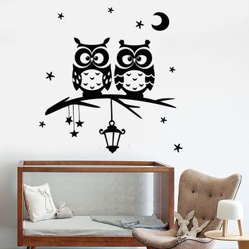 Vinyl Wall Decal Owl Moon Stars Branch Nursery Dreams Bedroom Stickers Unique Gift (683ig)