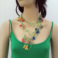 SPRING FLOWERS,Multicolor Lariat With Grey Strand - Crochet flower necklace - Crochet oya lace - Turkish Crochet Lace - Turkish Oya-daisies