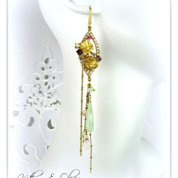 Lavender Drop Rhinestone lily pad flower Earrings w faceted mint chalcedony drops & rose quartz  briolettes