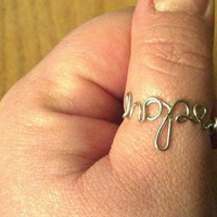 Custom wire word rings - Faith, Hope, Trust