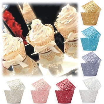 12pcs Baking Cup bakeware Wedding party Cake Cup Filigree Vine Decor Wrapper Wraps Cupcake Cases Hot Sale = 1933193348