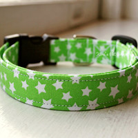 Handmade Dog/Cat Collar - Lime Green White Stars Dog Collar - Adjustable Buckle Fabric Dog Accessory Pet Accessories Breakaway Cat Collar