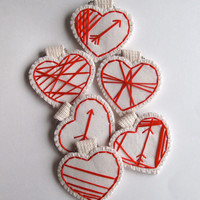 Mini heart ornament red geometric hand embroidered on cream muslin for Valentines day listing is for ONE heart