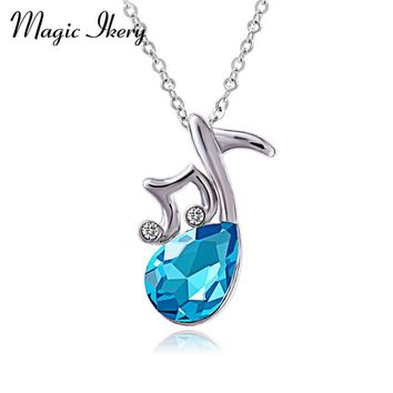 Magic Ikery New 2016 Fashion Crystal rhinestone Music Musical Note Pendants Necklaces For Women Charm MKSY00233