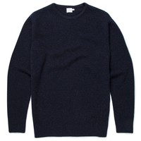 Men's Merino Cashmere Blend Rib Jumper in Navy Melange | Sunspel