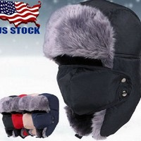 nisex Men/Women Winter Trapper Aviator Trooper Earflap Warm Ski Hat With Mask HX