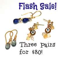 Cyber Monday Flash Sale Gemstone Earrings Lapis Earrings Moss Aquamarine Earrings Evil Eye Earrings FizzCandy