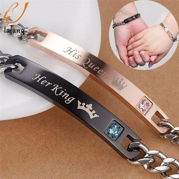 1pc Hot Sale Her King His Queen Couple Bracelets with Crytal Stone Lover Crown Charm Bracelets For Women Men Drop Shipping