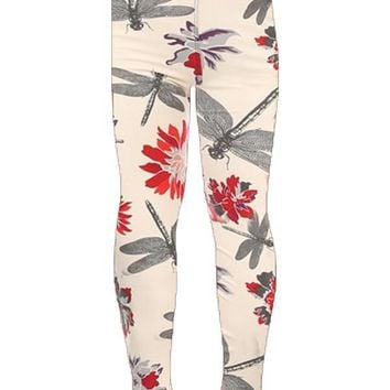 Girl's Dragonfly Leggings Spring Flowers Ivory/Red/Purple: S/L