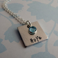 Hand Stamped Personalized Name Necklace with Birthstone / Hand Stamped Personalized Name Pendant with Birthstone / Custom Stamped Jewelry