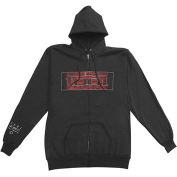 Tool Men's  Red Face Zippered Hooded Sweatshirt Black