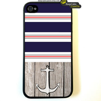 Iphone 4 Case Nautical Stripes Anchor iphone 4 by KeepCalmCaseOn