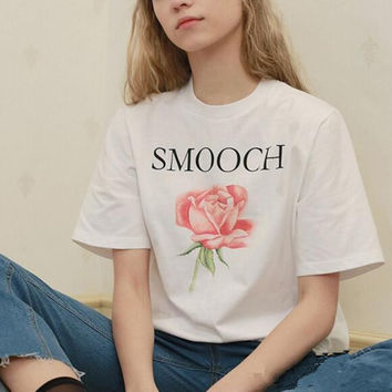 New Summer fashion women O Neck Rose &letters short sleeve T-shirt -0626