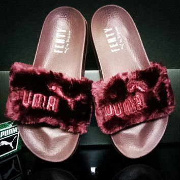 Trendsetter Puma Rihanna Leadcat Fenty Fashion Fur Slide Sandal Slipper Shoes