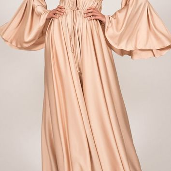 Memorable Liaison Apricot Long Bell Sleeve Off The Shoulder Gathered Casual Maxi Dress