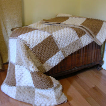 Crochet Afghan Neutral Colors Basketweave Stitch Large and Cozy Handmade Littlestsister
