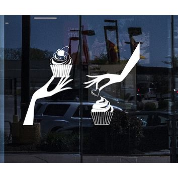 Window Vinyl Decal Hands with Cupcakes Wall Sticker Bakery Sign (n1021w)
