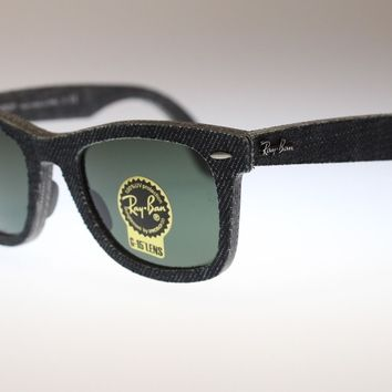 Ray Ban Icons Wayfarer Sunglasses RB2140 1162 Jeans Black With Green Lens 50mm