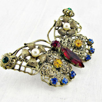 Vintage Gold Filigree Butterfly Brooch Pin, Multi-Colored Rhinestone Butterfly Brooch, Insect Bug Jewelry, 1950s Vintage Costume Jewelry