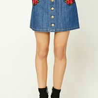 Contemporary Patch Denim Skirt
