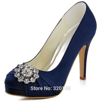 Woman Shoes Navy Blue High Heel Platform Pumps Rhinestone Satin Bride Prom Party Bridal Shoes Women Wedding Shoes EP2015 Silver