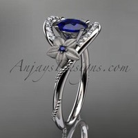 14kt white gold diamond unique floral engagement ring,wedding ring ADLR166. with natural royal blue sapphire center stone