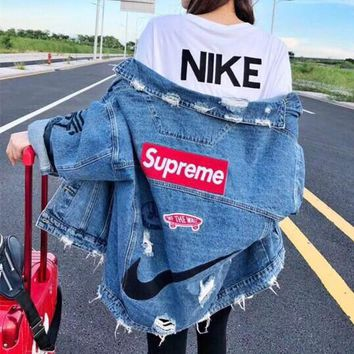 """Supreme"" Women Casual Fashion Personality Letter Ripped Loose Cardigan Long Sleeve Denim Coat"
