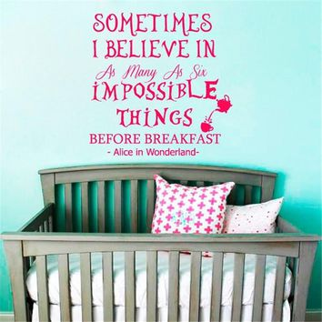 Book Quotes Alice In Wonderland Art Wall Sticker Home Room Nursery Bedroom Active Decor Cartoon DIY Home Decor M303