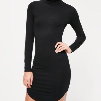 Rock and Roll Curve Hem Roll Neck Bodycon Dress