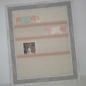 Framed Lace & Burlap Pocket Wall Organizer Display Board