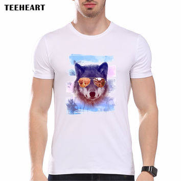 New Summer Glasses Wolf Printed Men's Casual Cool Animal T-shirt Male Retro Hipster Tops tee
