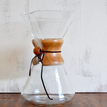 Vintage Mid-Century Chemex Coffee Maker, Large Eight Cup Size, Wood Collar, Green Stamp, Pyrex Glass