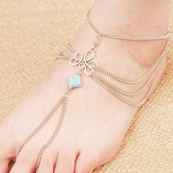 Retro Fake Turquoise Multilayered Toe Ring Anklet - Silver