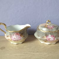 antique sugar bowl and creamer set Coiffe Limoges by ShoponSherman