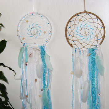 Pair Sea Dream Catchers  Large Dream catcher Blue Dreamcatchers Hippie handmade Boho Shell decor Wall Hangings Bohemian Wedding Gypsy style
