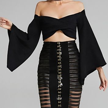 Liquid Confidence Black Faux Leather Long Bell Sleeve Crop Two Piece Bodycon Midi Dress