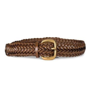 DCCK8X2 Gucci Women's Braided Leather Gold Buckle Belt 380606 Brown (32-38 in/80-95 cm)