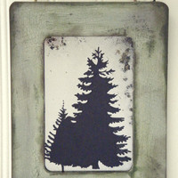 Evergreen Pine Tree Silhouette Antiqued Mirror Mountain Wilderness Green Rustic Log Cabin Wall Decor Forest Hiking Camping