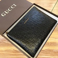 GUCCI New fashion more letter leather couple cosmetic bag file package handbag Black
